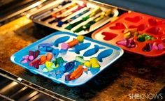 Crazy crayons. Take your small and broken crayons, melt them together and let them harden for some fun, colorful drawing.