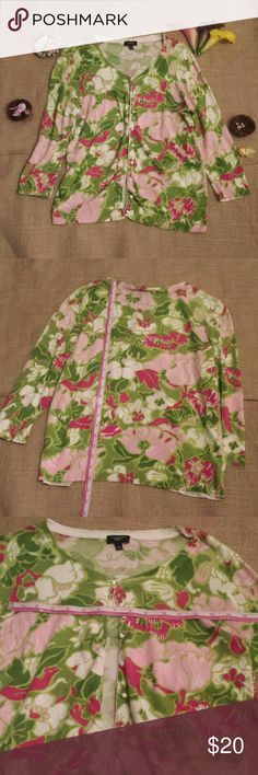 Talbots Cardigan Floral Small Petite Gently-used. 3/4 sleeves. Talbots Sweaters Cardigans
