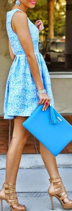 LoLoBu - Women look, Fashion and Style Ideas and Inspiration, Dress and Skirt Look Style Work, Style Me, Blue Style, Fashion Blogger Style, Look Fashion, Blue Fashion, Party Fashion, Fashion Trends, Runway Fashion