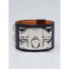 Pre-owned Hermes Black Box Leather Palladium Plated Collier de Chien... (£760) ❤ liked on Polyvore featuring jewelry, bracelets, preowned jewelry, hermes jewelry, leather bangle, pre owned jewelry and hermes bangle