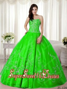 15th Birthday Party Dresses with Beading and Embroidery in Spring Green