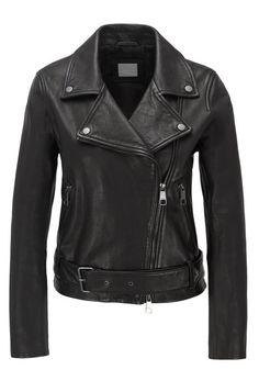 BOSS - Asymmetric biker jacket in nappa leather with belted waist Cuir Nappa, Biker, Black Leather, Leather Jacket, Costumes, Jackets, Women