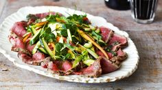 Jamie Oliver's courgette with beef carpaccio and anchovy dressing
