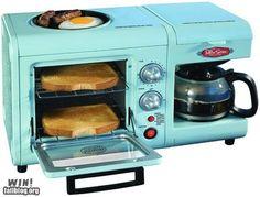 All-in-one breakfast maker in aqua. Yes!