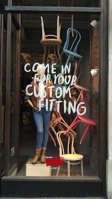 A love of Visual Merchandising, signage on shop window, window decals, branding, typography Window Display Retail, Retail Windows, Store Windows, Denim Window Display, Window Display Design, Visual Merchandising Displays, Visual Display, Fashion Merchandising, Design Boutique
