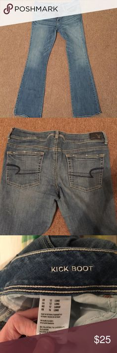 "American Eagle bootcut 12 Long Kick boot. 16"" waist. 33"" inseam. Super stretch American Eagle Outfitters Jeans Boot Cut"