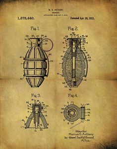 1921 Grenade Patent by Dan Sproul 1911 Pistol, Homemade Weapons, Patent Drawing, Sale Flyer, Altered Books, Hand Guns, Cool Art, Blue Prints, Military