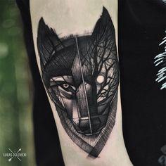 Half wolf #cykada #tattoo #wolf #moon #branches #trees