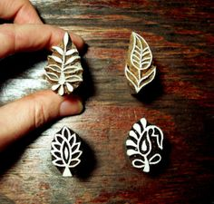 Set of Four Small Leaf Motif Wood Stamps Hand by PrintBlockStamps, $10.00