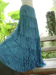 Ariel on Earth Boho Gypsy Long Tiered Ruffle Cotton Skirt - Sea Blue. $42.00, via Etsy.
