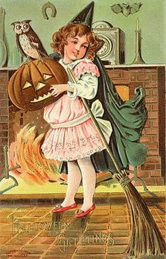 Vintage Embossed Sanders Halloween Postcard Girl Witch Holds Broom JOL With Owl Victorian Halloween, Vintage Halloween Images, Halloween Pictures, Vintage Holiday, Halloween Artwork, Vintage Fall, Vintage Wood, Vintage Images, Looks Halloween