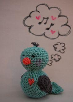 Bluebird crochet rattle stuffed toy by emilylbaum on Etsy, $24.00