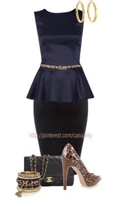 """""""River Island Navy Leopard Belted Peplum Top & Chanel"""" by casuality on Polyvore"""