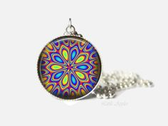 New to LittleApples on Etsy: Blue yellow kaleidoscope pattern 1 inch glass necklace mandala charm abstract jewelry (8.00 USD)