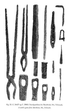 Tools from a blacksmith's grave in Skredtveit, Norway.
