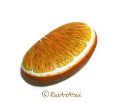 Hand Painted Stone Orange Fruit Half Slice Painted On Both