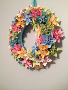 "Spring Bloom Origami/Kusudama Paper Flower Wreath 12""/ Flower Arrangement"