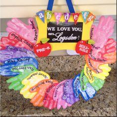 Handprint wreath for Teacher's Appreciation Day.