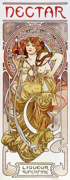 Details about Art Nouveau Print Alphonse Mucha Wall Poster Nectar Art Nouveau Mucha, Alphonse Mucha Art, Art Nouveau Poster, Art Deco Posters, Vintage Posters, Vintage Art, Design Art Nouveau, Illustration Art Nouveau, Jugendstil Design