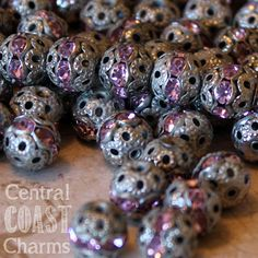 8mm Aged Silver Patina Rose Pink Rhinestone Filigree Beads Rondelle 8 pcs jewelry design assemblage - Shabby Vintage Style on Etsy, $8.91 CAD