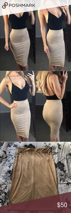 """Nude Suede Midi Skirt Features a soft luxurious faux suede, high waistline and fitted silhouette to show off your curves. Lined. Classic cut, midi length. Paired it with a black bodysuit. Modeled is a Small Made in the USA. Price is FIRM unless bundled Use the """"Buy Now"""" button below or """"Add to Bundle"""" button above to purchase. Boutique brand, not Nasty Gal. Tags: rag &a bone nasty gal UNIF dollskill nude suede midi skirt pencil skirt suede skirt American apparel Tobi Charlotte Russe h&m…"""