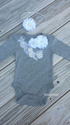 Baby Girl Onesie Headband Set / Newborn Outfit Girl by AdassaBaby