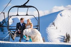 Bride and groom sitting on a chair lift at a squaw valley winter wedding by Photography by Monique #HighCamp #laketahoewedding #laketahoeweddingphotographer  © www.tahoeweddingphotojournalism.com