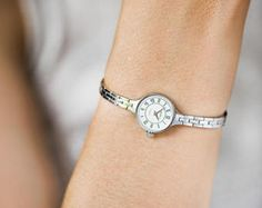 Tiny woman's watch bracelet Seagull, vintage lady's watch silver shade, round watch jewelry, cocktail watch gift, mint condition small watch