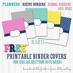Free Binder Cover Printables for Planners, Recipe Books, etc! Free Digital Scrapbooking, Binder Covers Free, Planner Covers, Binder Dividers, Planning Budget, Meal Planning, Home Binder, Home Management Binder, Recipe Binders