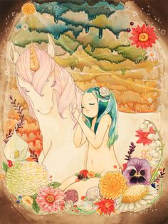 blue haired girl with unicorn and flowers