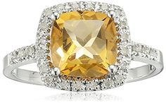 Sterling Silver Cushion Citrine Diamond Ring 110 cttw IJ Color I2I3 Clarity Size 6 ** Read more reviews of the product by visiting the link on the image.Note:It is affiliate link to Amazon.