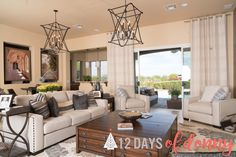 A living room fit for an Osmond! 😉 Comfy, Cozy, & Classic! Featuring our Alexander 8 light fixture, Rosanna Chairs, Sofa, & coffee table! http://bit.ly/RosannaDOH #12DaysOfDonny #Day7