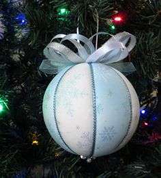 Christmas Ornament   Light Blue and White by OrnamentDesigns