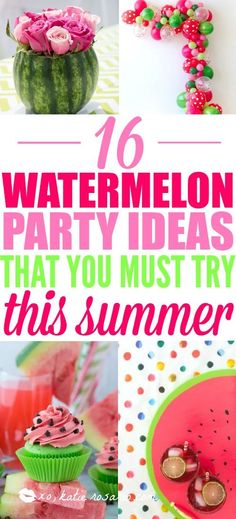 Summer is here! Watermelon parties are a genius idea! It's bright and colorful perfect for a summer BBQ or birthday party. This DIY party is really easy from the paper banners to the watermelon cupcakes! Here's 16 DIY watermelon party ideas! Watermelon Decor, Baby Shower Watermelon, Watermelon Birthday Parties, 1st Birthday Party For Girls, Diy Birthday Banner, Girl Birthday Themes, Summer Birthday, Birthday Ideas, Watermelon Party Decorations