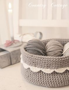 hooked-on-needles:  (via My Country Cottage Garden: A little grey crocheted basket)    Very pretty …