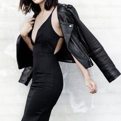 All black, EVERYTHING. #dress #leather