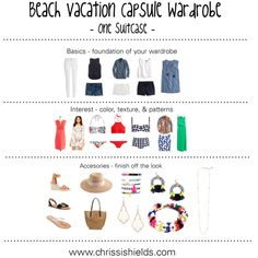 Beach Vacation Capsule Wardrobe by styledbylizjones on Polyvore featuring Kendra Scott, J.Crew, Vero Moda, Seafolly, H&M, Topshop, Paige Denim, Dolce&Gabbana, Madewell and BaubleBar