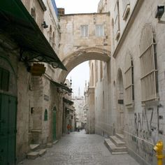 """Jerusalem, Israel: Via Dolorosa (""""Way of Grief"""" in Latin) is a road in the old city of Jerusalem, believed to be the path where Jesus was lead in agony, carrying the crucifixion cross."""