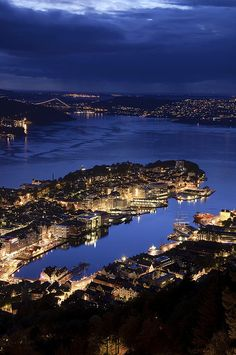 Beautiful night view, Bergen, Norway