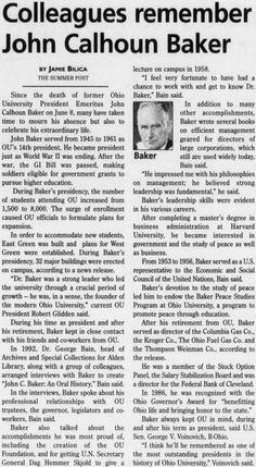 """Post (Athens, Ohio) July 1 1999, Page 5: """"Colleagues remember John Calhoun Baker."""" Baker died June 8, 1999. He was OU's 14th president and Baker Student Center is named in his honor. :: Ohio University Archives"""