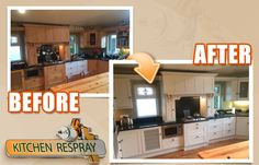 Kitchen respray Dublin a total remodelling to stunning colour farrow and ball skimming stone,  new worktops and handles complete this stunning kitchen and check difference before and after kitchen Remodelling.