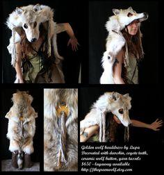 Golden Wolf Headdress by lupagreenwolf