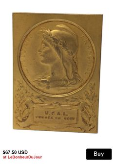 ON SALE French MARIANNE Bronze Medal. Antique Bronze Medal.
