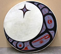 Hobiyee Drum Red Cedar, Elk Skin, Acrylic Paint Private Collection, used as raffle for 2013 Ts'amiks Hobiyee January 2013 Native Indian, Native Art, Indian Art, Drums Wallpaper, Drums Art, Native American Symbols, Western Theme, Native Style, Aboriginal Art