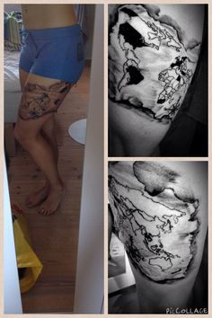 My rib tattoo not all who wander are lost with a world map done my latest tattoo a map of the entire world on my thigh with the gumiabroncs Gallery