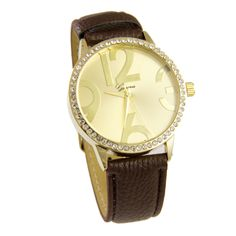 Bold Number Watch (brown) [10084000] - $20.00