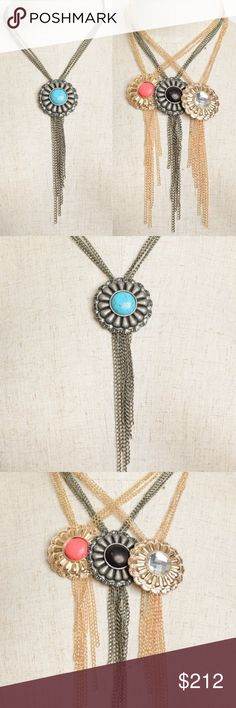 MULTI LAYER CHAIN NECKLACE WITH PENDANT DETAIL NEW!!!  Get your Boho style on with this necklace. Multi chain layers and oversized pendant. as seen in pictures  Your choice of gun metal with faux turquoise stone pendant, gold toned metal with faux coral stone pendant or gold toned metal with clear rhinestone pendant.  LISTING IS FOR 1 NECKLACE, PICK YOUR STYLE BEFORE CHECKOUT .... Jewelry Necklaces