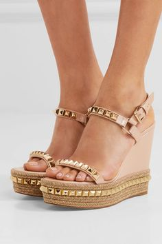 Wedge heel measures approximately 120mm/ 5 inches with a 40mm/ 1.5 inches platform Beige patent-leather Buckle-fastening slingback strap Designer color: Nude Made in SpainSmall to size. See Size & Fit notes