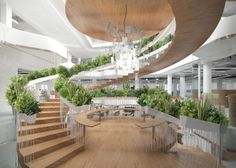 Spiraling Staircase with Vegetation Embedded into Banisters - My Modern Metropolis