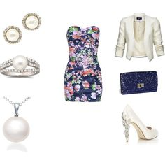 white and floral, created by abc1-222-cxv on Polyvore. Love the shoes!!!!
